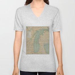 Vintage Lake Michigan Lighthouse Map (1898) Unisex V-Neck