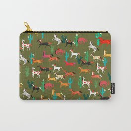 wild horses and flowers pattern Carry-All Pouch