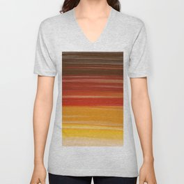Abstract brown orange yellow sunset brushstrokes Unisex V-Neck