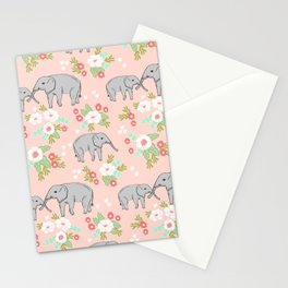 Elephants pattern blush pink pastel with florals cute nursery baby animals lucky gifts Stationery Cards