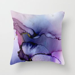 color flow purple blue magenta gold Throw Pillow