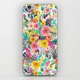 Vibrant Autumn Floral with Turquoise iPhone Skin