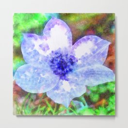Blue Anemone Watercolor Metal Print