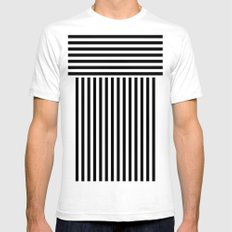 stripes White Mens Fitted Tee SMALL