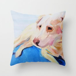 Abbey the Senior Yellow Labrador Retriever  Throw Pillow