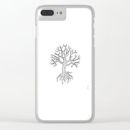 Leafless Rooted Tree Illustration Clear iPhone Case