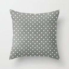 dark gray swiss dots Throw Pillow