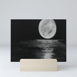 Full Moon, Moonlight Water, Moon at Night Painting by Jodi Tomer. Black and White Mini Art Print