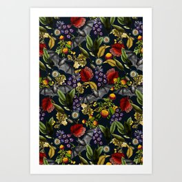 Flying Fox and Floral Pattern Art Print