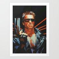 terminator Art Prints featuring Terminator by K-mu Toma