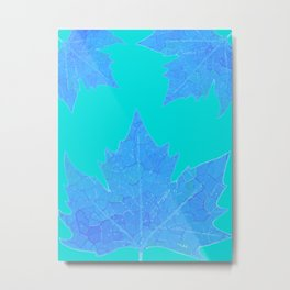 Sycamore Stained Glass Tiffany style design Ice leaf on turquoise Metal Print