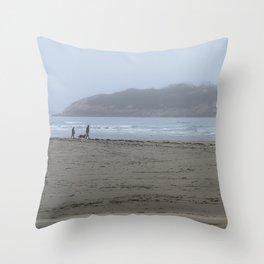 Walking on a foggy beach Throw Pillow