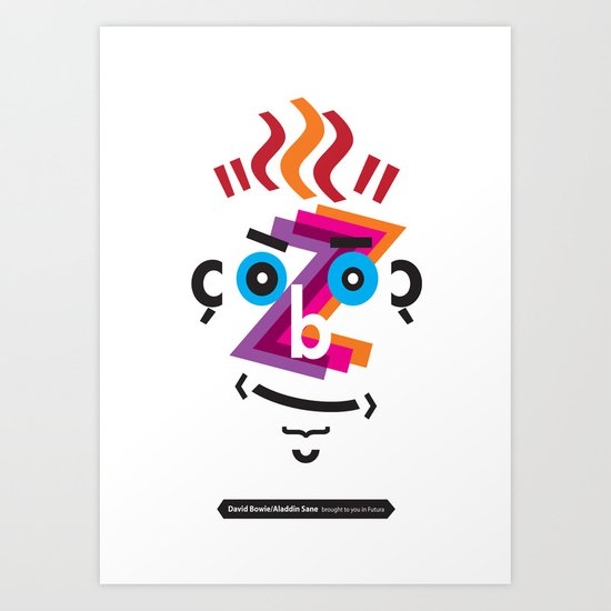 Type Faces No.2: David Bowie as Aladdin Sane brought to you in the typeface: Futura Art Print