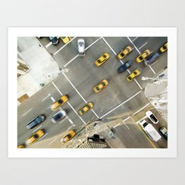 Yellow cabs in New York City Art Print
