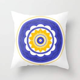 Purple and Yellow Mandala Throw Pillow