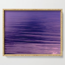 Movement of Water on a Calm Evening- Violet Abstraction Serving Tray