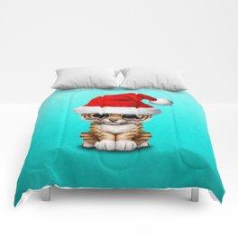 Christmas Tiger Wearing a Santa Hat Comforters