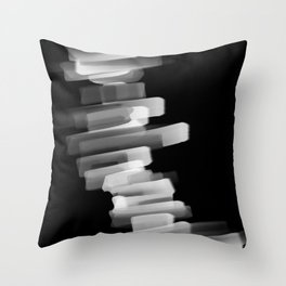 Stairs of Light - Black and White Throw Pillow