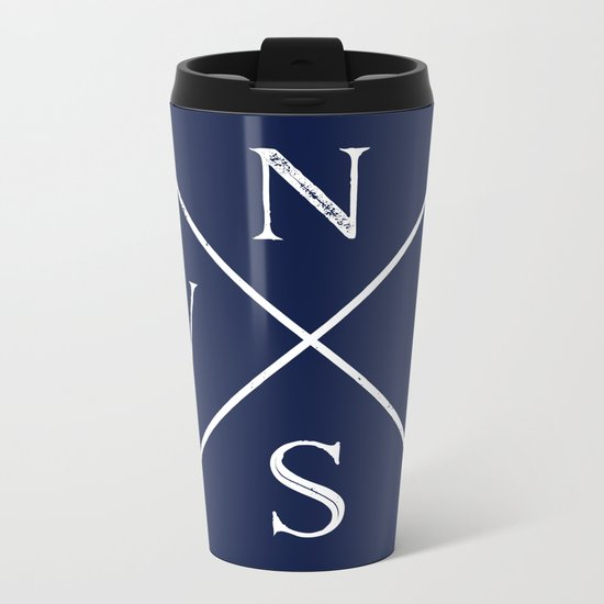 Navy Blue and White Compass Arrows Metal Travel Mug