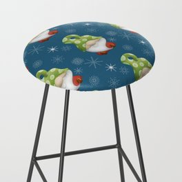 Blue Winter Gnome Pattern Bar Stool