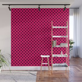 Small Black Crosses on Hot Neon Pink Wall Mural