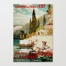 Switzerland and Italy Via St. Gotthard Travel Poster Canvas Print