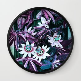 Unicorn Blue Passion Flowers Temple of Flora Wall Clock