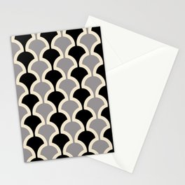 Classic Fan or Scallop Pattern 415 Gray and Black Stationery Cards