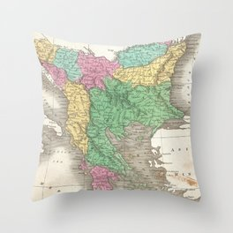 Vintage Map of The Balkans (1827)  Throw Pillow