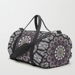Mandala in black and white with hint of purple and green Duffle Bag