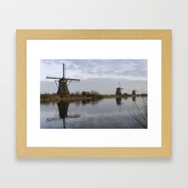 UNESCO World Heritage windmills in Kinderdijk in Holland europe, windmills at the water with reflect Framed Art Print
