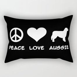 Peace, Love, Aussie, Australian Shepherd Rectangular Pillow