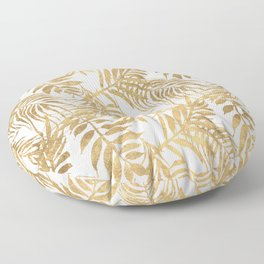 Elegant tropical gold white palm tree leaves floral Floor Pillow