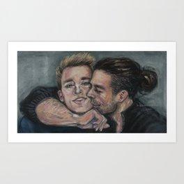 Bucky Hugging Steve Art Print