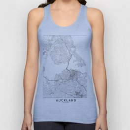 Auckland White Map Unisex Tank Top