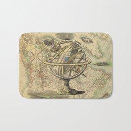 Vintage nautical compass and map illustration Bath Mat