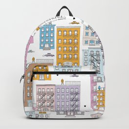 Manhattan brownstones New York travel pattern Backpack