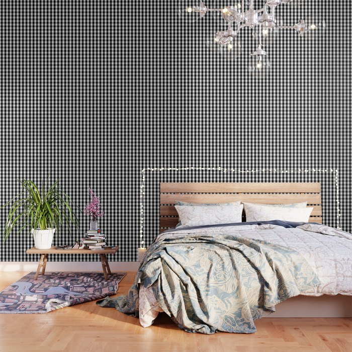 Large Black White Gingham Checked Square Pattern Wallpaper