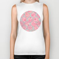 moroccan Biker Tanks featuring Moroccan Floral Lattice Arrangement in Pinks by micklyn