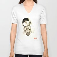 mask V-neck T-shirts featuring MASK by lantomo