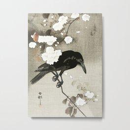 Raven on Cherry tree - Japanese vintage woodblock print Metal Print