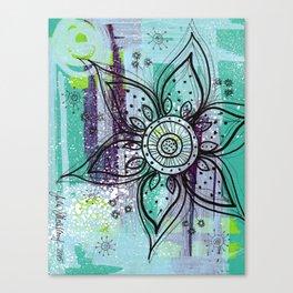 Teal Flower Canvas Print