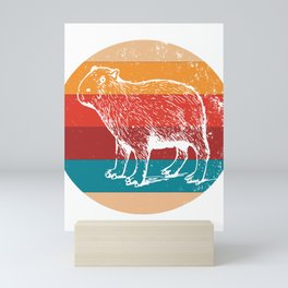 Vintage Capybara Lover Retro Rodent Silhouette Gift Mini Art Print