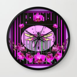 Orchid Purple Deco Dragonfly Orchids Art Wall Clock