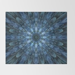 Mandala with intricate blue layers Throw Blanket