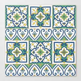 Italian Tile Pattern – Sicilian ceramic from Caltagirone Canvas Print