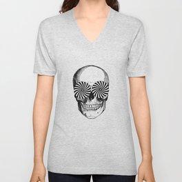 Black & White - Optical Skull Unisex V-Neck