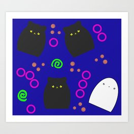 Cats and Ghost Funky Halloween Pattern Art Print