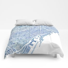 Barcelona Blueprint Watercolor City Map Comforters