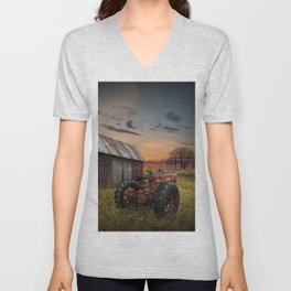 Abandoned Farmall Tractor and Barn Unisex V-Neck